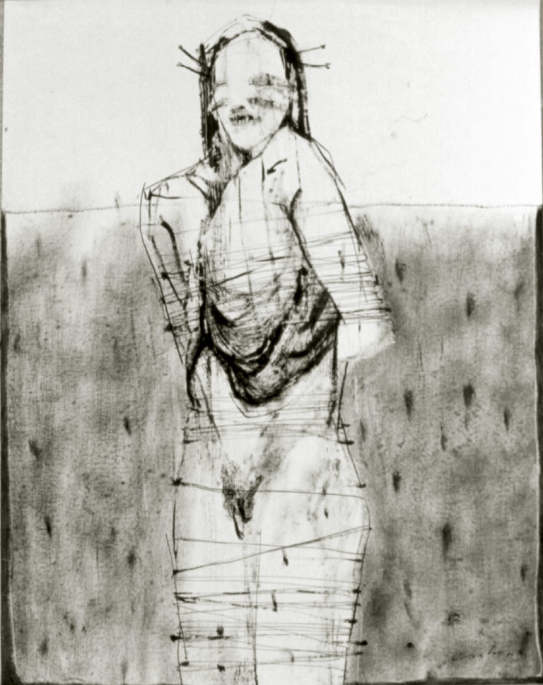 Serie Blanco y Negro. 1982, ink and oli on paper 23 x 19 inches