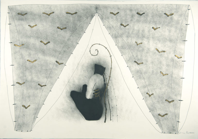 El minotauro en su laberinto I, 1994, ink and oil on fabriano papaer, 28 x 39 inches