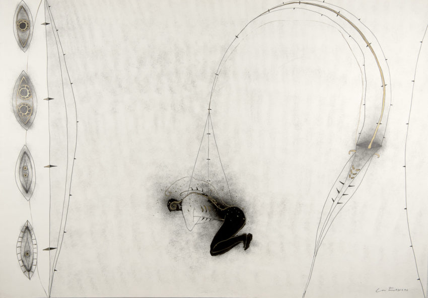 Mi juego preferido, 1994, ink and oil on Fabriano paper, 29 x 39 inches