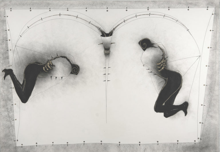 See saw, 1994, ink and oil on fabriano paper 28 x 39 inches
