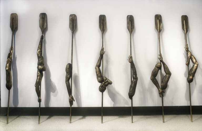 The Bait. 2003. Installation, paper mache and wood, Oars high 112 inches, Dimension variable. Miami Dade College Gallery. Kendall Campus.