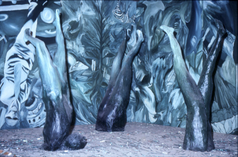 The Falls of Icarus II, 1986, Installation, Acrylic on canvas, mirrors and polychromed plaster, 146 x 158 x 158 inches. II Biennal of Havana, Museum of Fine Arts of Havana