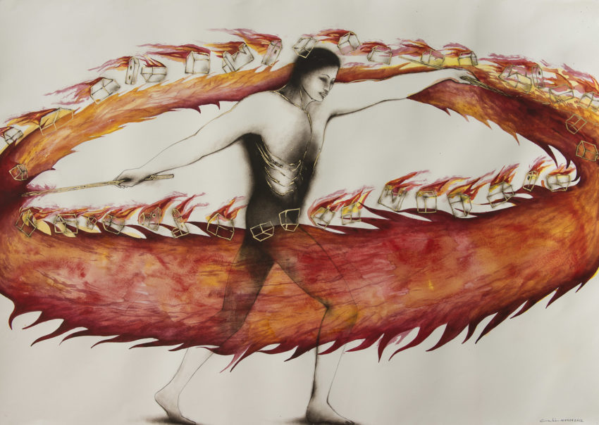Candela - Fire. Mixed media by Humberto Castro. 2012 Mixed media on paper 42 x 59 inches