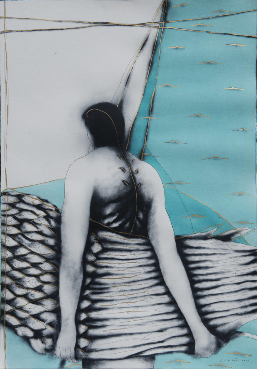 The Wing. By Humberto Castro. 2015, mixed media on paper, 41 x 29 inches