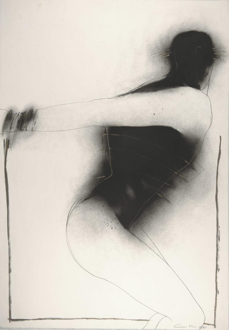 Serie blanco y negro, diptico Martirio #1. Drawing by Humberto Castro.