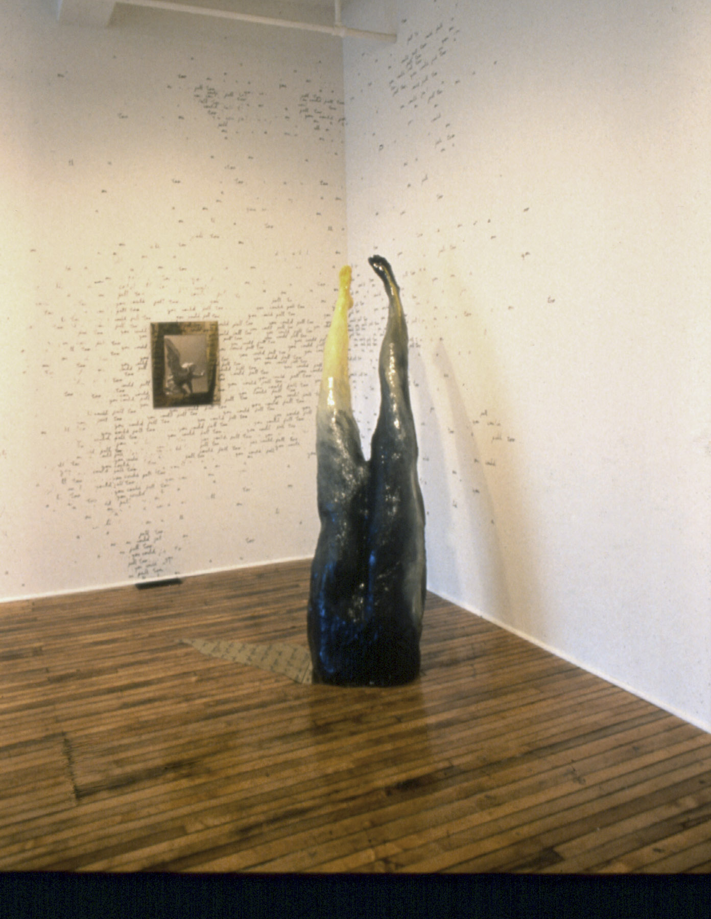 You Could Fall Too, 1988, Installation, text writen upon the wall, polycromed plaster, photo and bronze, Variable dimentions, Forest City Gallery, London, Ontario, Canada