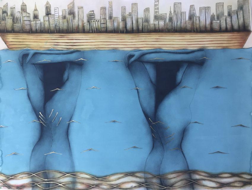 La Ciudad de las Columnas. By Humberto Castro. 2017 ink and acrylic on paper 45 x 59 inches