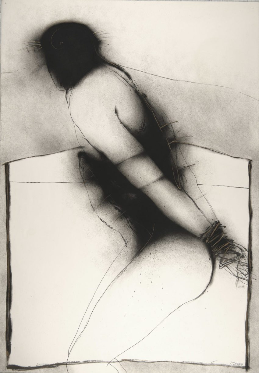 Serie blanco y negro diptico Martirio #2, 1984 ink and oil on fabriano paper, 28 x 39 inches
