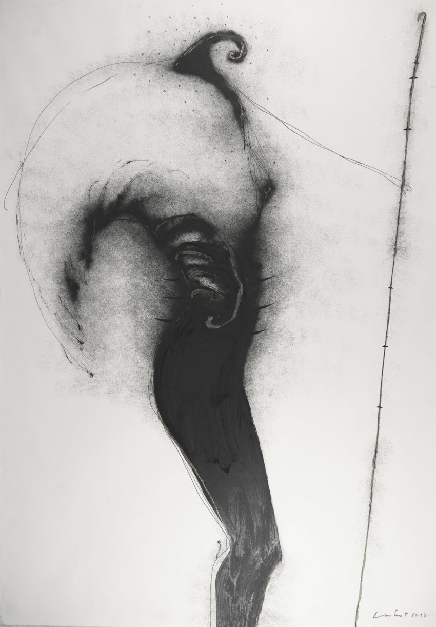 Phoenix, 1993, ink and oil on fabriano paper, 28 x 39 inches