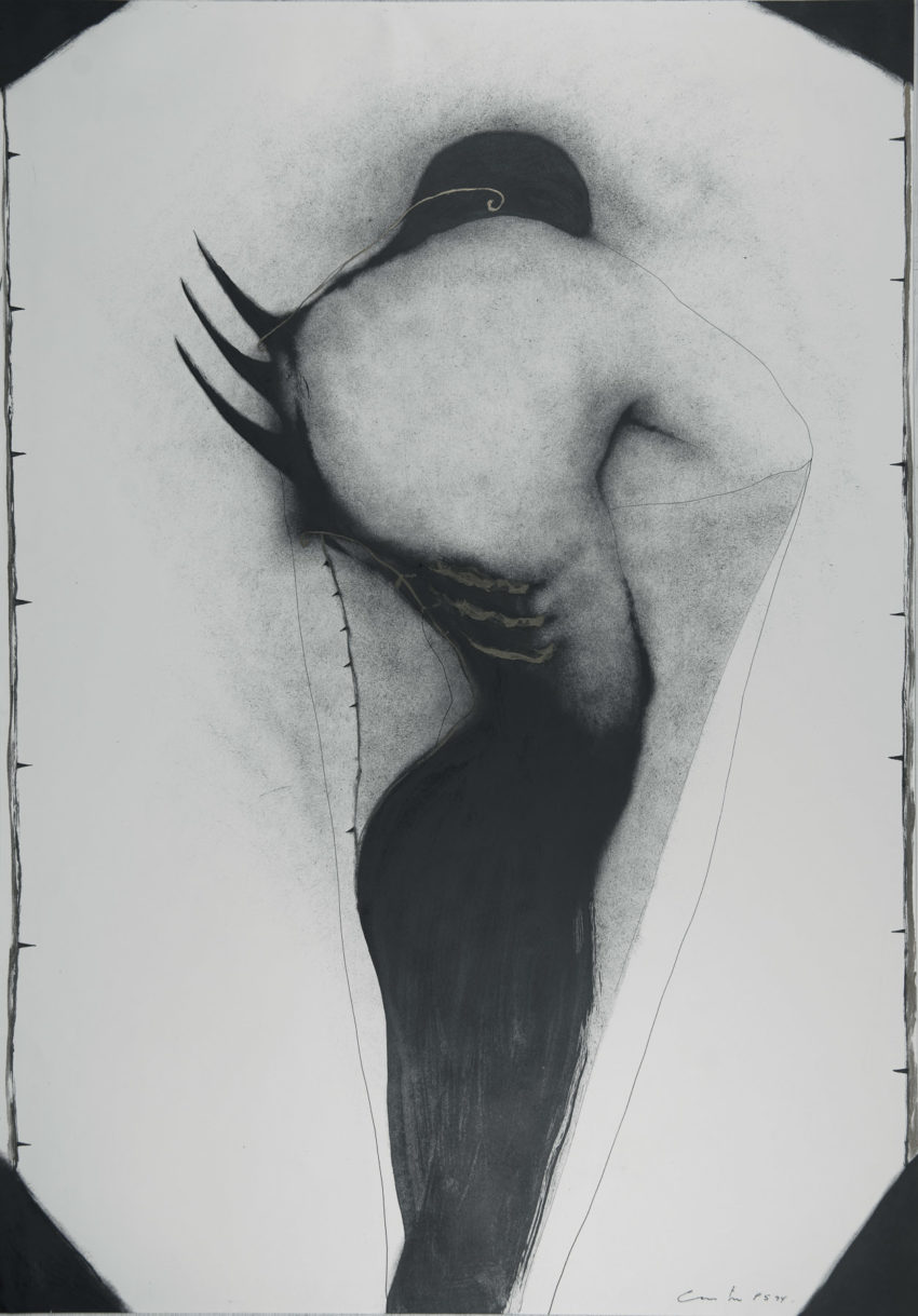 El minotauro en su laberinto, 1994, ink and oil on fabriano paper,_