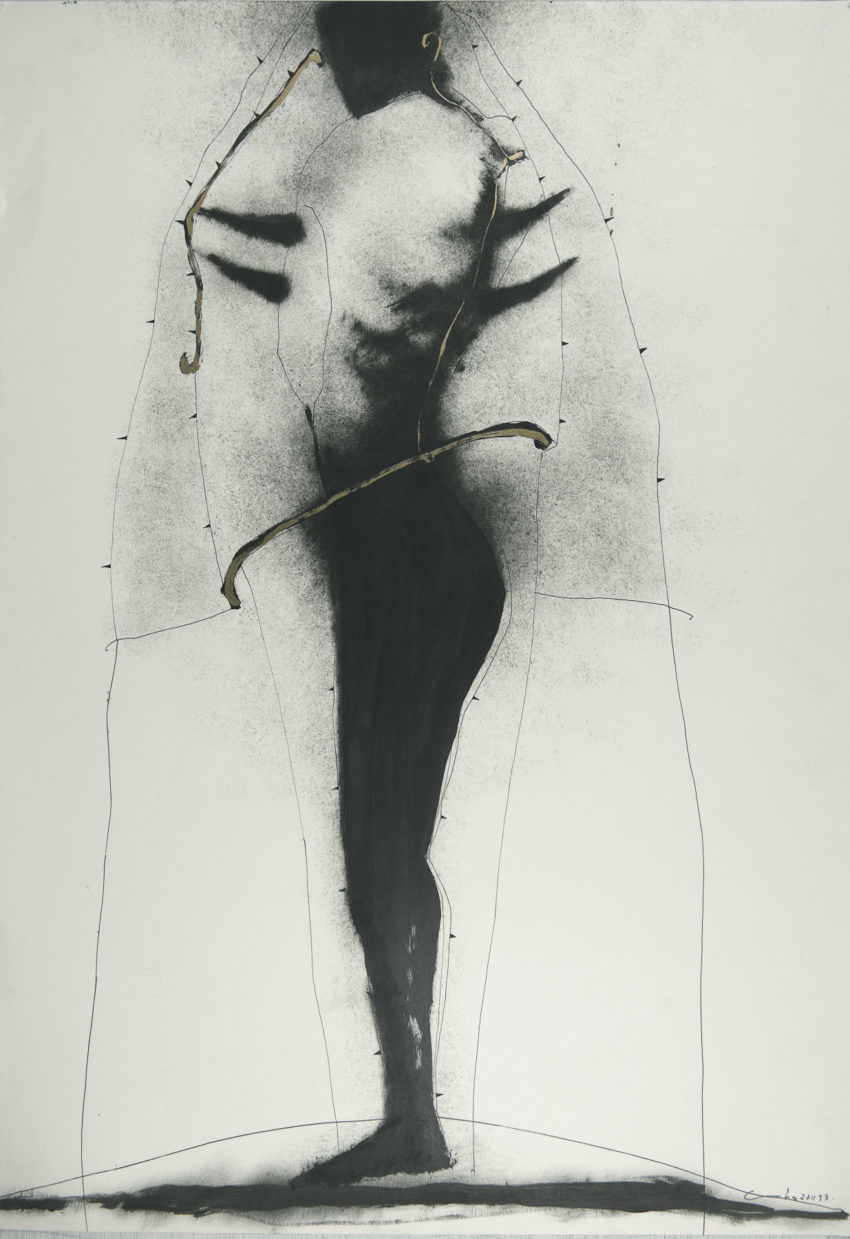 El vuelo de Icaro # 8, 1993, ink and oil on fabriano paper, 28 x 39 inches