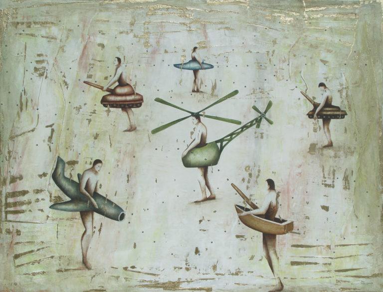 Hombres jugando a la guerra. 2008, oil on canvas, 42 x 55.5 in. Humberto Castro