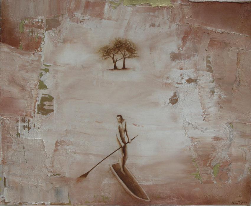 Dejando el oasis. 2007, oil on canvas, 26 x 32 in. Humberto Castro