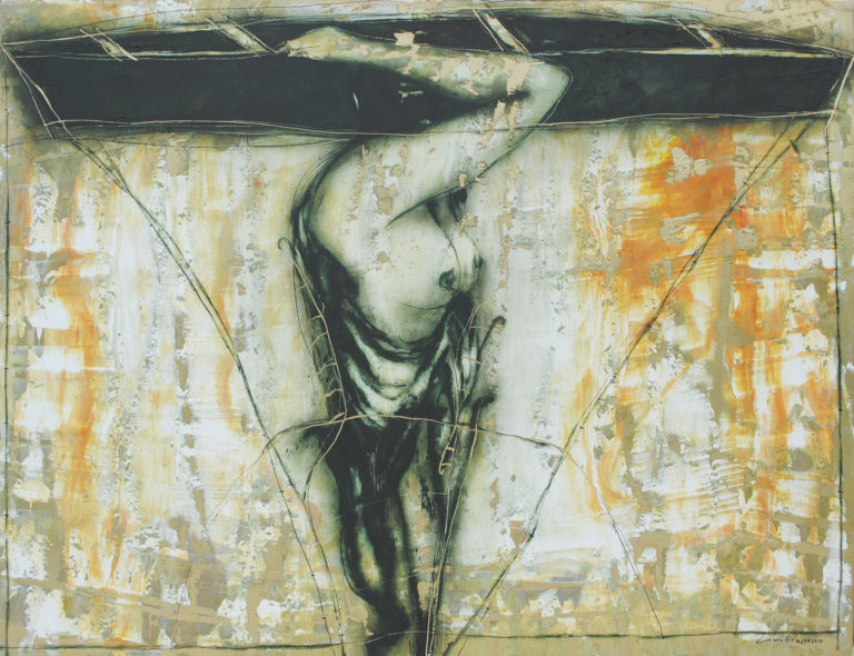 Walking in the Depth. 2010, acrylic and oil on canvas, 42.5 x 55 in. Humberto Castro