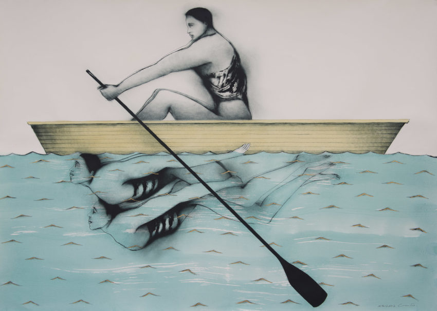 Rowing Against the Current. 2012, Mixed media on paper 42 x 59 inches, Private collection Miami Fl. Humberto Castro