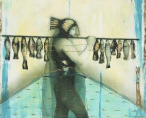 Ciboney pescador. The Ciboney Fisherman. 2012, Oil and acrylic on canvas 44 x 54 in. Humberto Castro