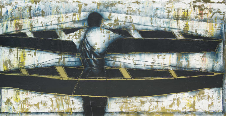 Navegante-Sailor. 2012, Oil and acrylic on canvas 50 x 99 in. Col. Aida T. Baladi. Humberto Castro