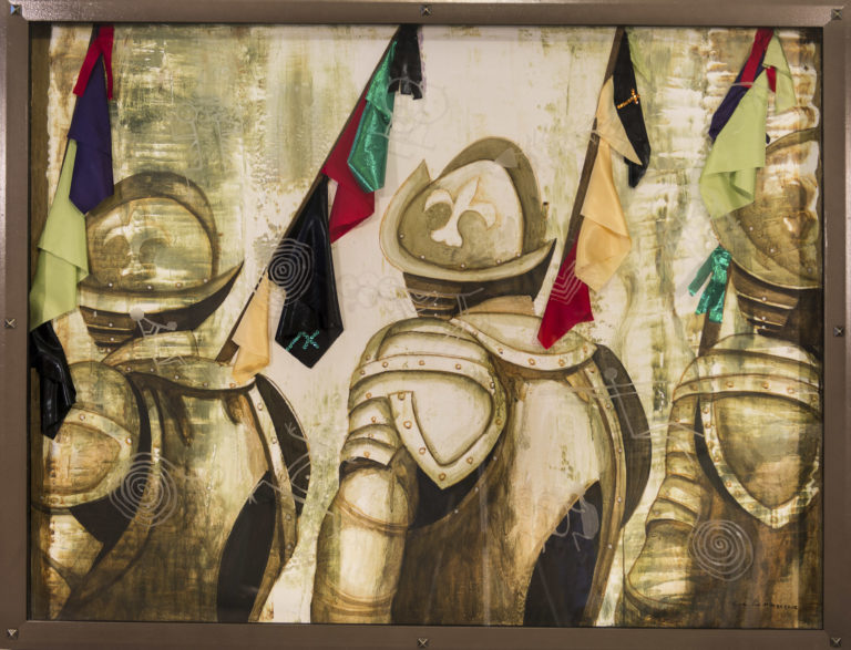 Guardia española con banderas Voodoo/ Spanish Guard with Voodoo flags. 2012, Mixed media on canvas with fabric in vitrine 47.5 x 61.75 in. Humberto Castro