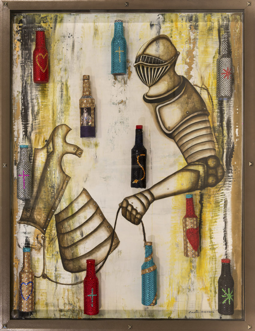 Botellas Voodoo/ Voodoo Bottles. 2012, Mixed media on canvas with embellished 33- Glass bottles in vitrine 47.5 x 61.75 in. Humberto Castro