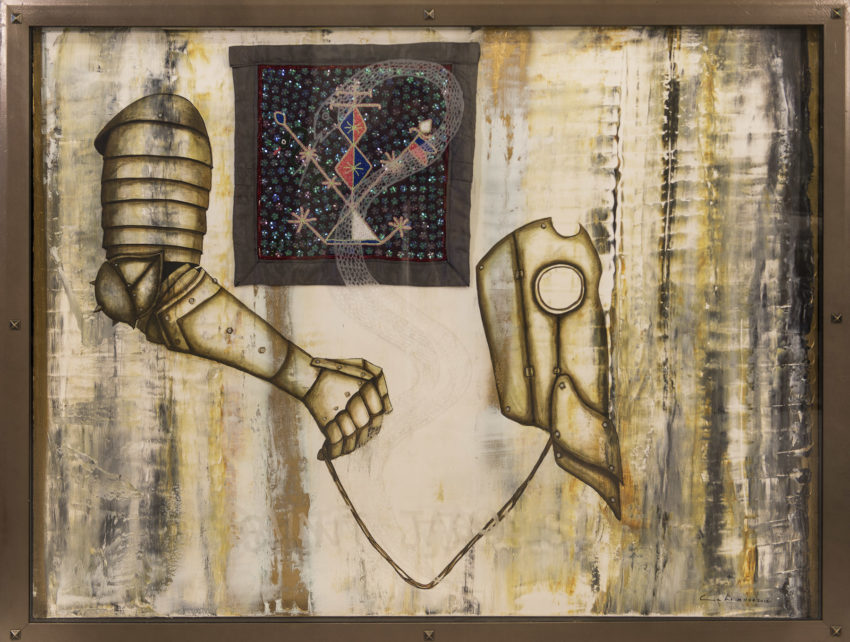 Saint Jacques. 2012, Mixed media on canvas with Haitian Voodoo flag in vitrine 47.5 x 61.75 in. Humberto Castro