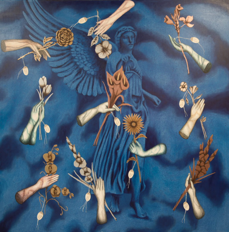 El Jardín de las Artistas. 2019, acrylic on canvas, 68x 68 in. Humberto Castro